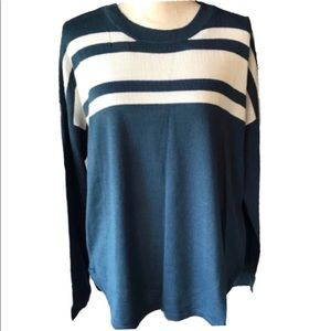 Canyon River Blues Blue Striped Hi Low Sweater NWT